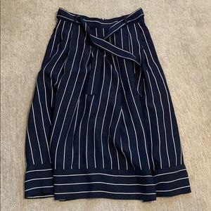 NAVY BLUE STRIPED MAXI SKIRT SIZE 10